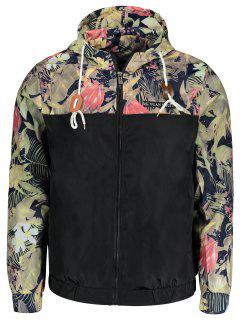 Plant Print Hooded Windbreaker Jacket - Black L
