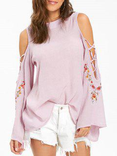 Embroidered Cold Shoulder Bell Sleeve Blouse - Pink S