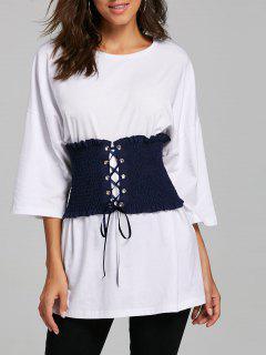 Corset Belt Drop Shoulder Tunic T-shirt - White Xl
