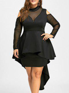 Plus Size Mesh Panel High Low Bodycon Dress - Black 2xl