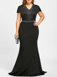Rhinestone Embellished Plus Size Maxi Dress - Black 2xl