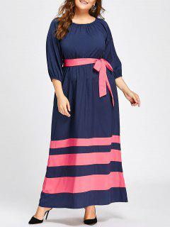 Plus Size Elastic Waist Maxi Stripe Dress - Deep Blue 4xl