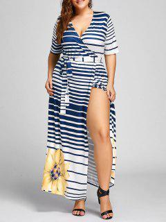 Plus Size Stripe Floral Maxi High Slit Dress - Yellow 2xl