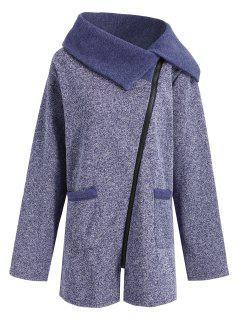 Plus Size Fleece Oblique Zipper Turn Down Hoodie - Cadetblue 4xl