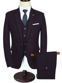 One Button Plaid Three Piece Suit - Wine Red 2xl