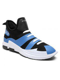 Striped Slip On Color Block Casual Shoes - Blue 39