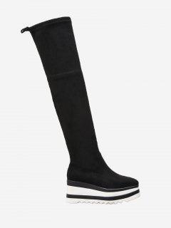 Wedge Heel Tie Back Over The Knee Boots - Black 37