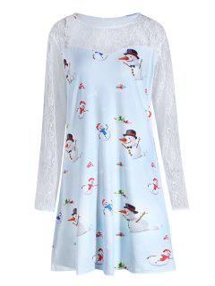 Plus Size Christmas Snowman Printed Lace Sleeve Dress - Cloudy Xl