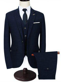 Notch Lapel Checked 3 Piece Business Suit - Blue 2xl