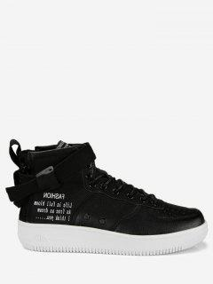 Buckle Strap Letter High Top Sneakers - Black 42