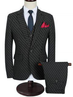 Zigzag Pattern Slim Fit Three Piece Business Suit - Black 3xl