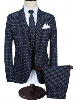 Zigzag Pattern One Button 3 Piece Business Suit - Blue 3xl