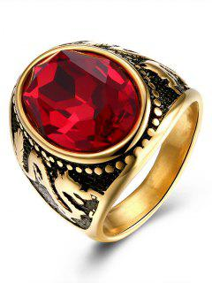 Vintage Engraved Dragon Faux Ruby Oval Ring - Golden 9