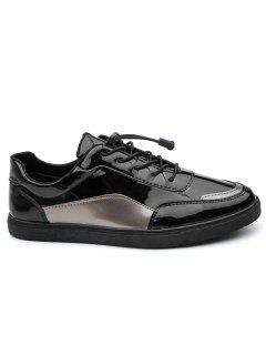 Patent Leather Lace Up Casual Shoes - Black Grey + Gun 39