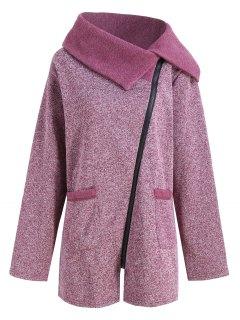 Plus Size Fleece Oblique Zipper Turn Down Hoodie - Purplish Red 5xl