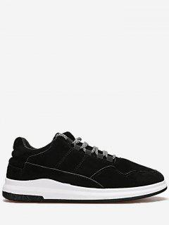 Lace Up Stitching Sneakers - Black 42