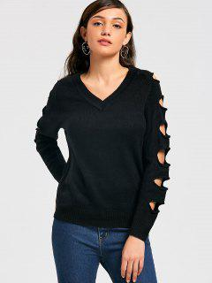 V-neck Distressed Sweater - Black