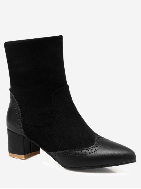 new Wingtip Splicing Pointed Toe Boots - BLACK 37 Mobile