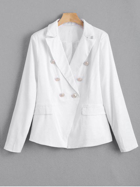 Falso bolsillos botón embellecido chaqueta - Blanco M Mobile