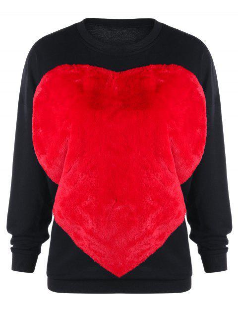Flauschiges Sweatshirt mit Zwei Farben und Herz - Schwarz XL Mobile