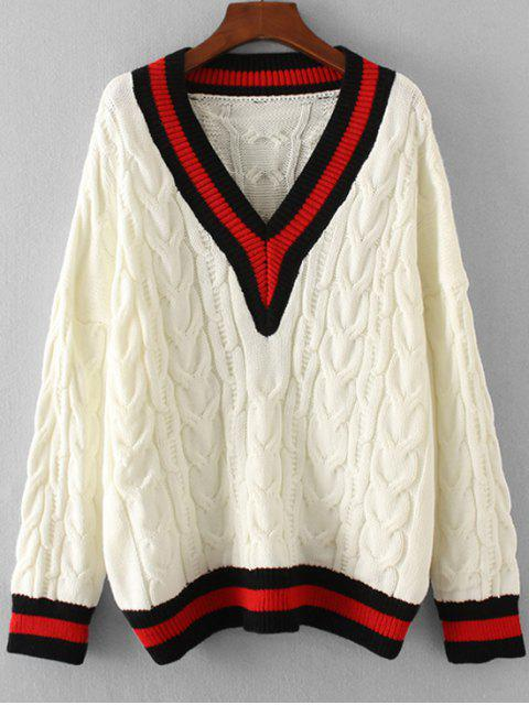 unique Stripes Panel Oversized V Neck Sweater - WHITE ONE SIZE Mobile