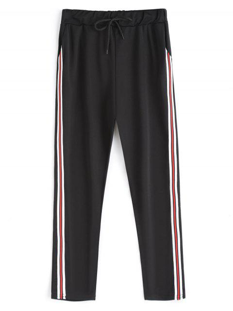 fancy Drawstring Running Pants - BLACK ONE SIZE Mobile