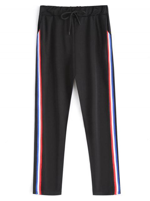 unique Drawstring Stripe Running Pants - BLACK ONE SIZE Mobile