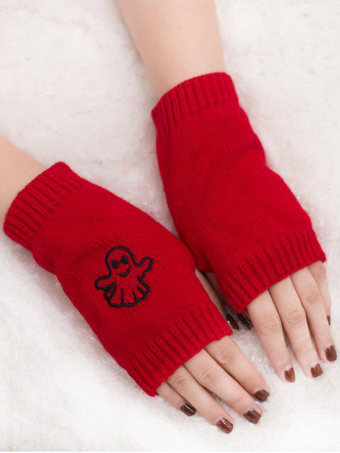 trendy Halloween Ghost Fingerless Knitted Gloves - RED  Mobile
