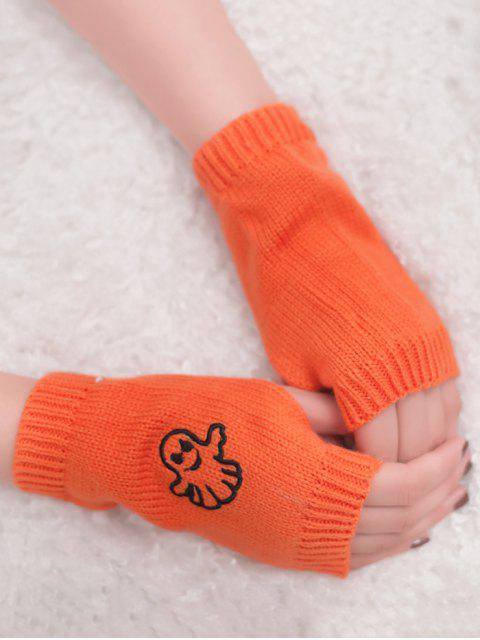 fancy Halloween Ghost Fingerless Knitted Gloves - ORANGE YELLOW  Mobile