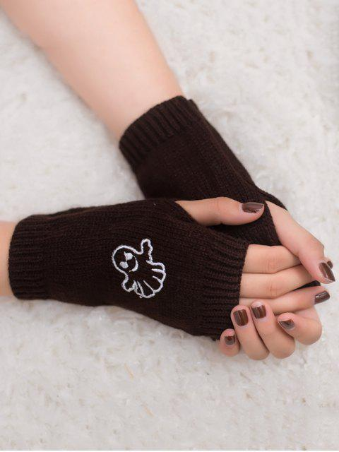 sale Halloween Ghost Fingerless Knitted Gloves - COFFEE  Mobile