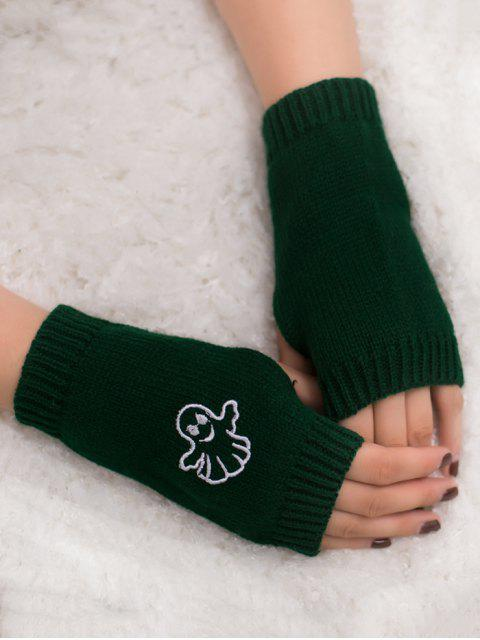 womens Halloween Ghost Fingerless Knitted Gloves - BLACKISH GREEN  Mobile