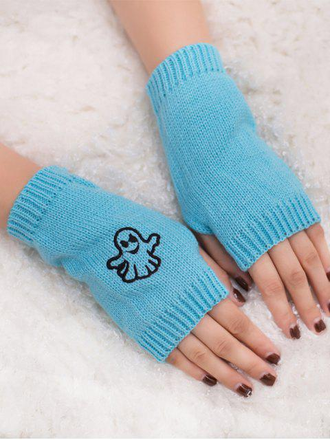 lady Halloween Ghost Fingerless Knitted Gloves - LIGHT BLUE  Mobile