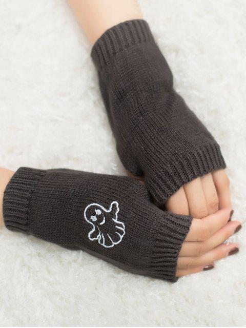 best Halloween Ghost Fingerless Knitted Gloves - DEEP GRAY  Mobile