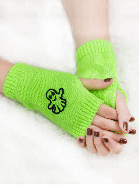 outfits Halloween Ghost Fingerless Knitted Gloves - FLUORESCENT YELLOW  Mobile