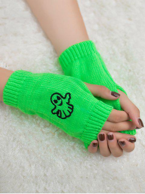 shop Halloween Ghost Fingerless Knitted Gloves - NEON GREEN  Mobile