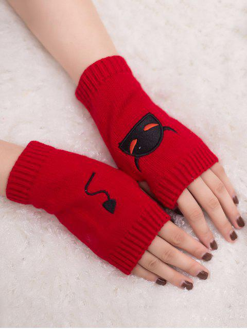 trendy Halloween Devil Pattern Fingerless Knit Gloves - RED  Mobile