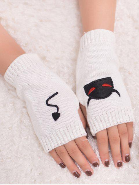 chic Halloween Devil Pattern Fingerless Knit Gloves - WHITE  Mobile