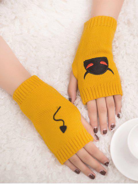 affordable Halloween Devil Pattern Fingerless Knit Gloves - YELLOW  Mobile