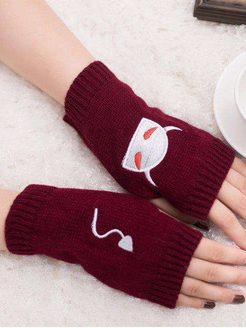 womens Halloween Devil Pattern Fingerless Knit Gloves - WINE RED  Mobile
