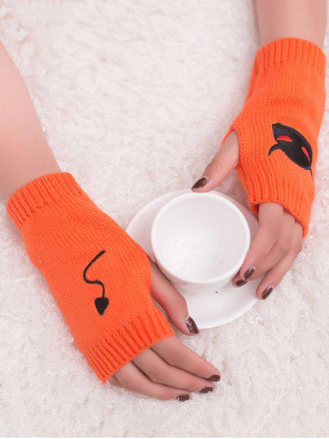 women's Halloween Devil Pattern Fingerless Knit Gloves - ORANGE YELLOW  Mobile
