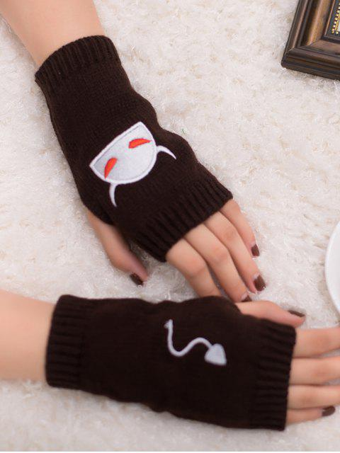 lady Halloween Devil Pattern Fingerless Knit Gloves - COFFEE  Mobile