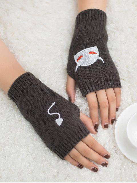 outfits Halloween Devil Pattern Fingerless Knit Gloves - DEEP GRAY  Mobile