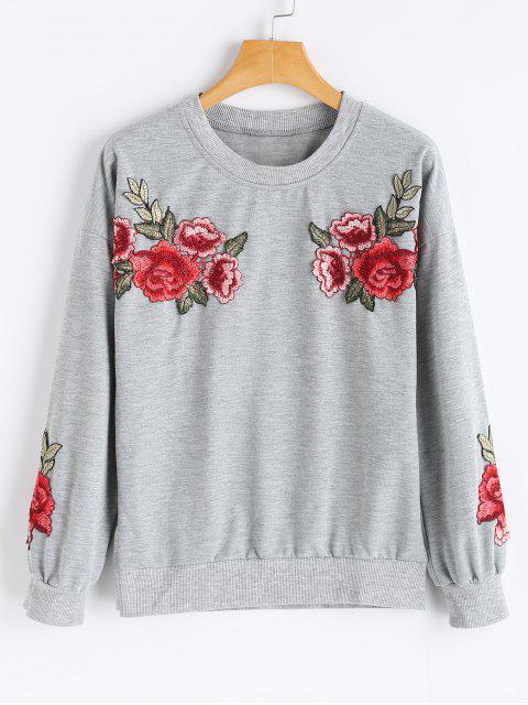 fashion Flower Applique Crew Neck Sweatshirt - GRAY S Mobile