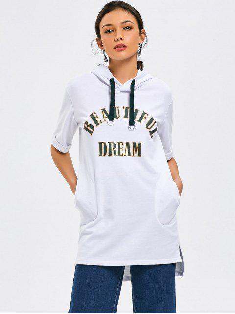 unique Short Sleeve Letter High Low Hoodie - WHITE S Mobile