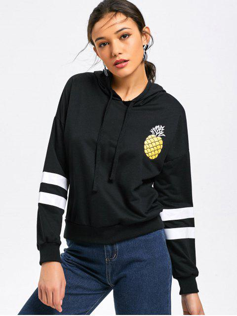 womens Stripes Panel Pineapple Hoodie - BLACK S Mobile