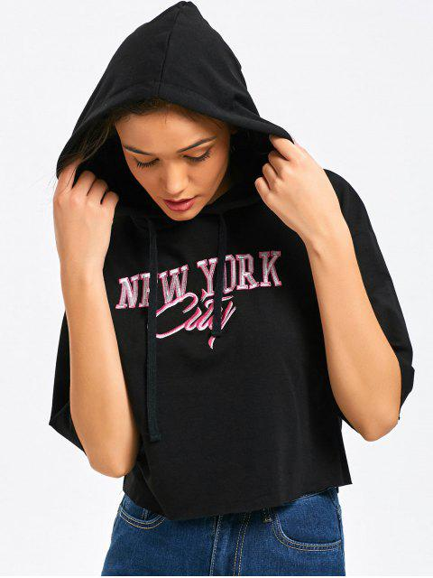 best Cropped Oversized Letter Hoodie - BLACK S Mobile