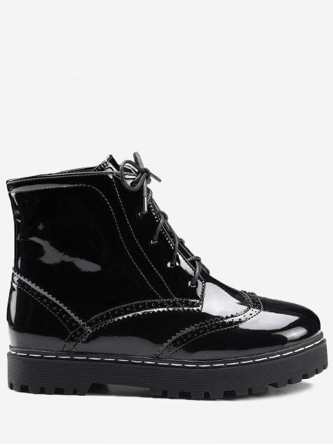 affordable Lace Up Wingtip Ankle Boots - BLACK 39 Mobile