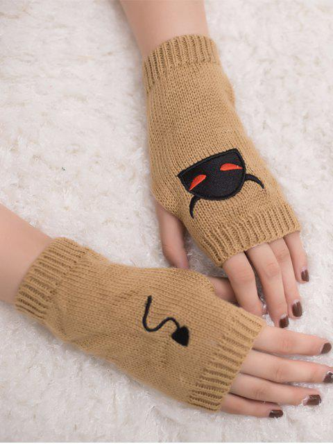 ladies Halloween Devil Pattern Fingerless Knit Gloves - CAMEL  Mobile