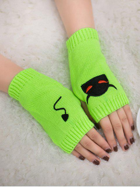 best Halloween Devil Pattern Fingerless Knit Gloves - FLUORESCENT YELLOW  Mobile