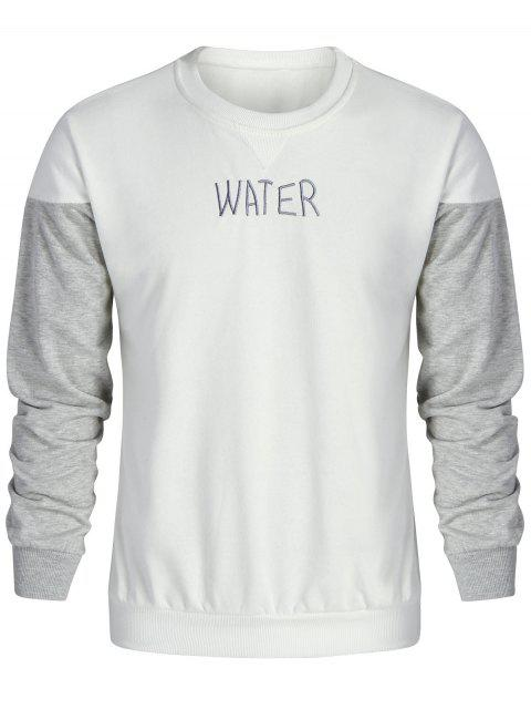 online Water Embroidered Color Block Sweatshirt - GREY AND WHITE 2XL Mobile